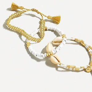 NWT J.Crew Beachy Beaded White & Gold Bracelet Set